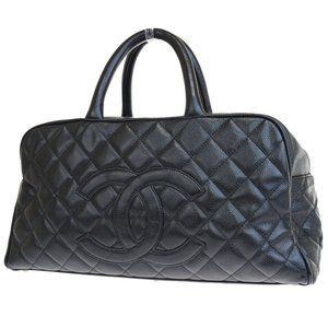 CHANEL CC Quilted Hand Bag Caviar Skin Leather Bl